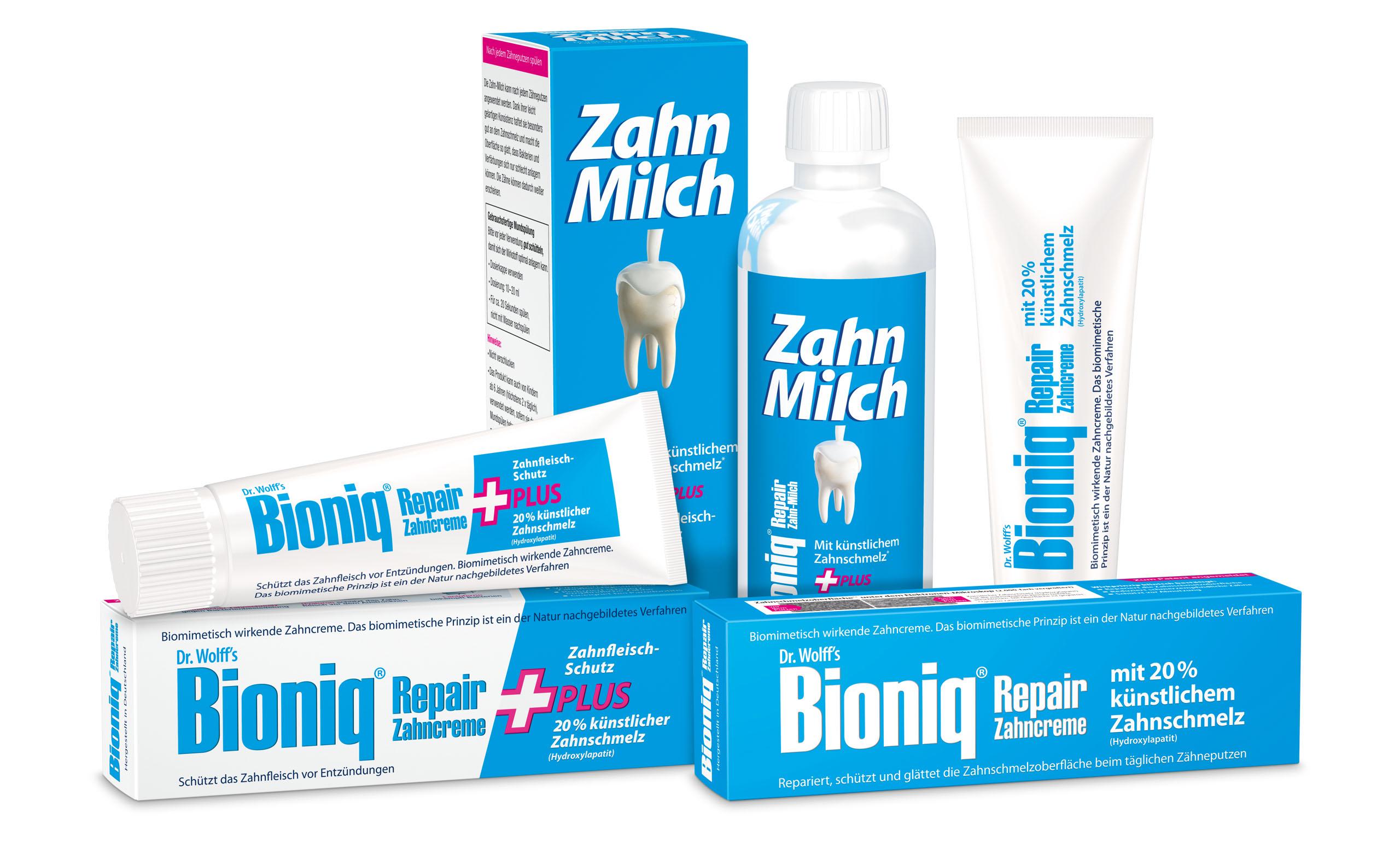 Bioniq Repair-Zahncreme, Bioniq Repair-Zahncreme Plus und Bioniq Repair Zahn-Milch